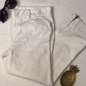 Ann Taylor Loft Petite White Marisa Zipper Pants